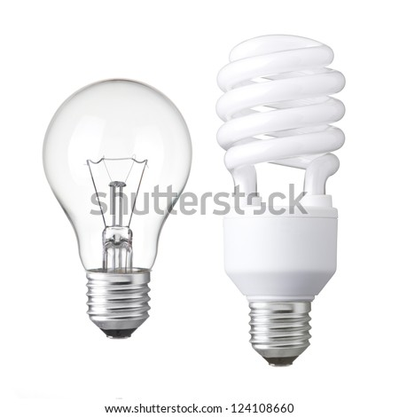 Realistic photo image of  light bulbs. isolated of Incandescent bulbs, fluorescent bulbs, orange old generation bulb, Tungsten bulb, and white energy saving bulb - stock photo