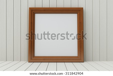 Realistic picture frame on wood background, Perfect for your presentations.