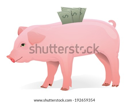 Realistic Pig with money in his back