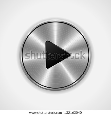 Realistic Play metal button. Raster Version - stock photo