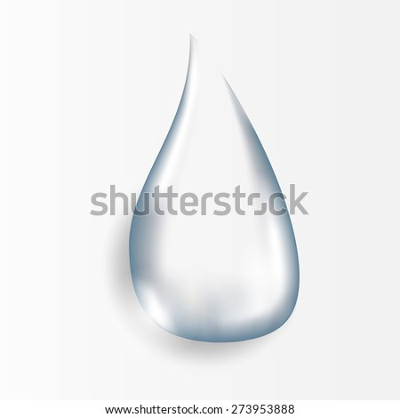 Realistic pure and transparent water drop with shadow on gray background. illustration