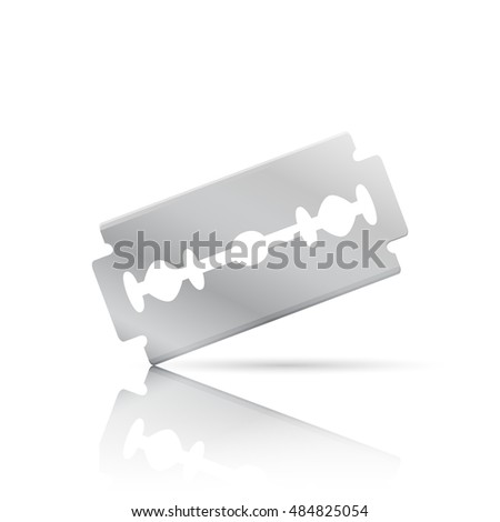 Realistic razor blade, front view with shadow and reflection, 3d illustration, isolated on white background, raster