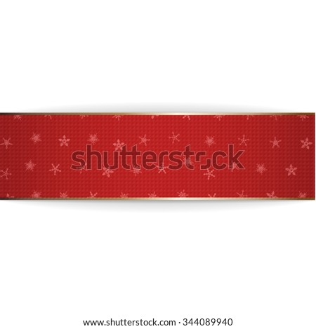 Realistic red bend paper Christmas Ribbon on white Background. Holiday Element for Your Design of greeting Card, Advertisement or Web - stock photo