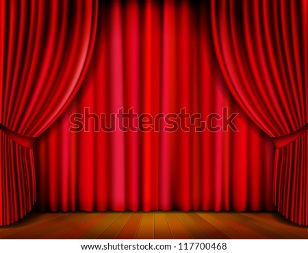 Realistic red curtain on wooden stage. Illustration