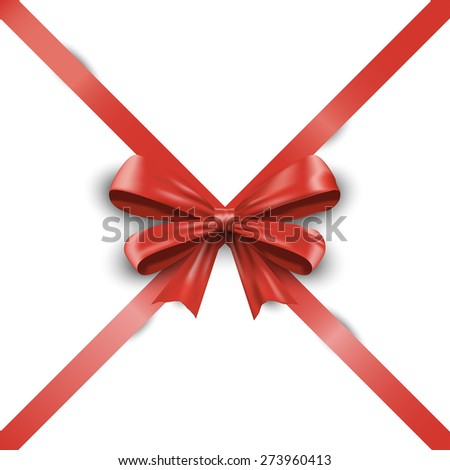 Realistic red ribbon bow with tails isolated on white background. illustration