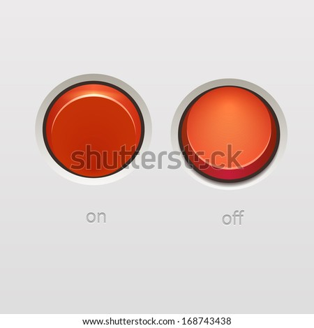 Realistic red toggle switch on off positions. - stock photo