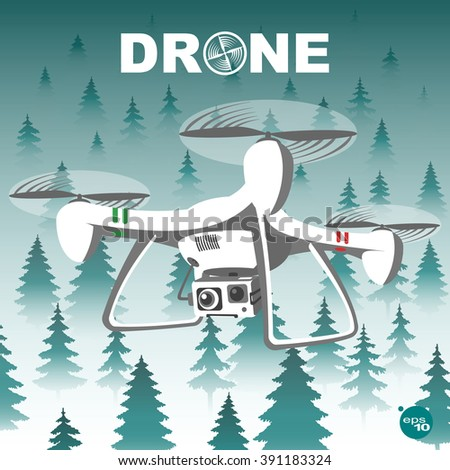 Realistic remote air drone quadrocopter with camera flying in the sky over the forest in thick fog and monitoring security. 3d format flying drone in white, gray tones with red and green double lines