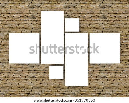realistic render of collage photo frames on stone brick wall - stock photo