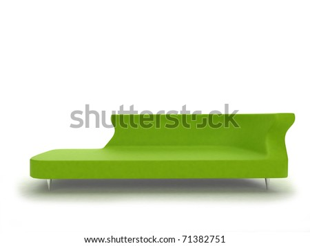 realistic render of modern green sofa isolated on white - stock photo