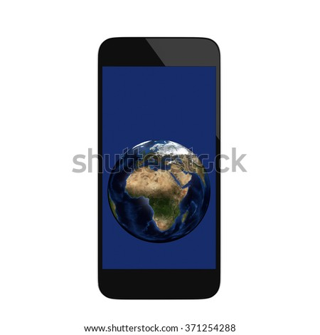 Realistic render of smart phone with Planet Earth visible on the screen. Elements of this image furnished by NASA - stock photo