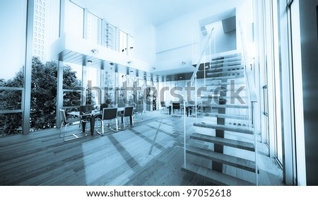 Realistic rendering of a modern luxurious office, ideal for backgrounds - stock photo