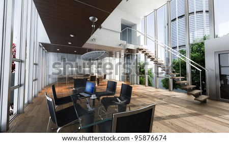 Realistic rendering of a modern luxurious office, with breathtaking view - stock photo