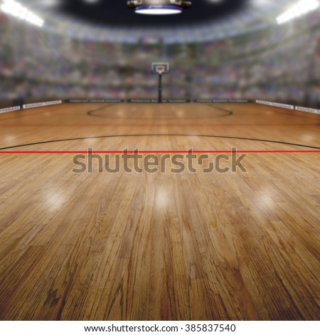 Realistic rendering of basketball arena background full of fans in the stands with copy space. Deliberate focus on foreground and shallow depth of field on background. - stock photo