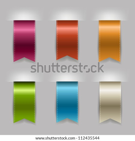 Realistic Ribbon Set, Isolated On Grey Background - stock photo