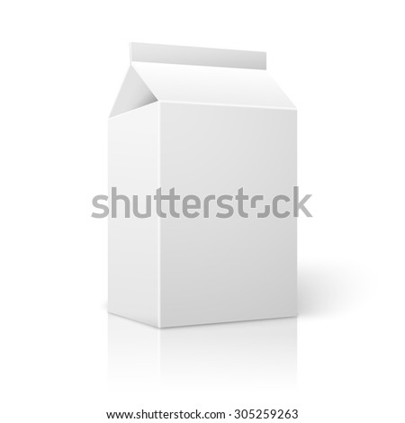 Realistic small white blank paper package for milk, juice, cocktail etc. Isolated on white background with reflection, for design and branding.