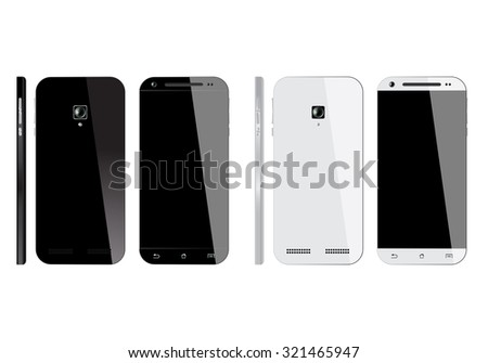 Realistic Smartphone isolated on white background. Mobile phone Front, Back and Side view. Smart phone mockup design.
