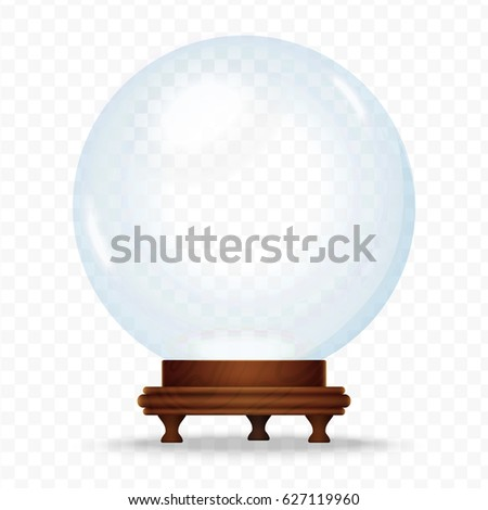 Realistic Snow sphere globe isolated on the transperant background. Magic crystal glass ball. Christmas snow globe.