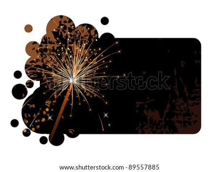 Realistic sparkling firecracker on a black background. Raster version.