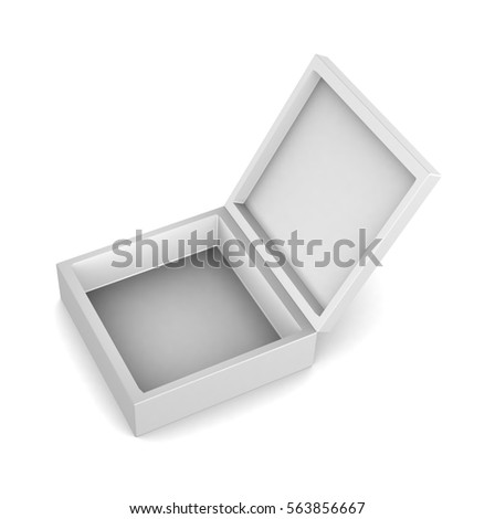 Realistic square white open box isolated on white background. 3d illustration