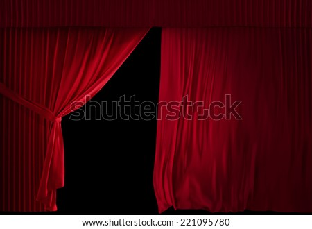 realistic stage curtains on a black background - stock photo