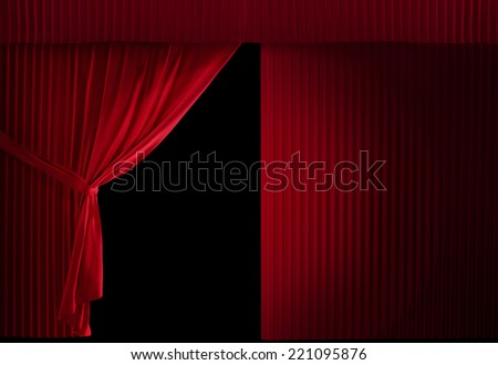 Realistic Stage Curtains On A Black Background Half Curtain Is Still