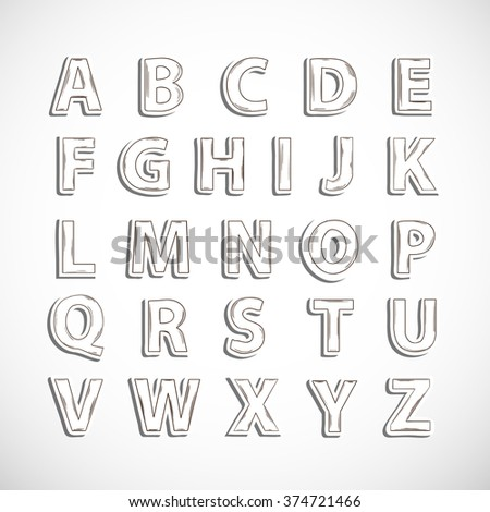 Realistic Sticker Hand Drawn Alphabet Letter Isolated With ShadowDoodle