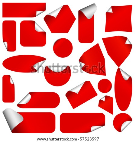 Realistic stickers with peeling corners. Vector version available in my gallery. - stock photo