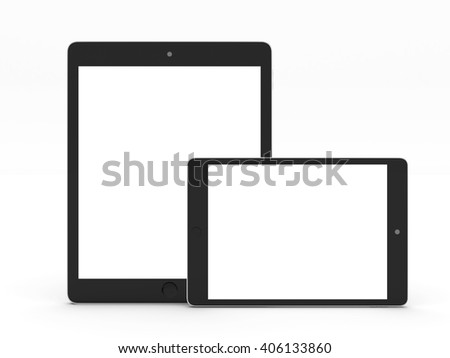 Realistic tablet computer and mini tab mockup with white blank screen for design isolated on white background. Highly detailed. 3d illustration. - stock photo