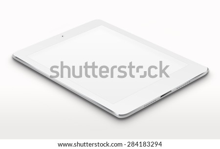 Realistic tablet computer ipad style mockup with blank screen on gray background. Highly detailed illustration. - stock photo