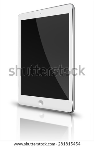 Realistic tablet computer  ipade style mockup with black screen and reflection isolated on white background. Highly detailed illustration.   - stock photo