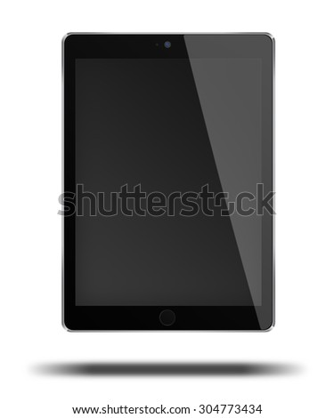 Realistic tablet computer pc in ipade style mockup with black screen isolated on white background. Highly detailed illustration. - stock photo