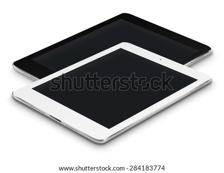 Realistic tablet computers ipade style mockup with black screens isolated on white background. Highly detailed illustration. - stock photo