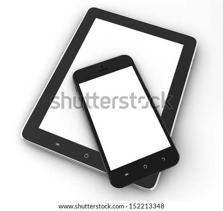 Realistic tablet pc computer and mobile phone with blank screen isolated on white background - stock photo