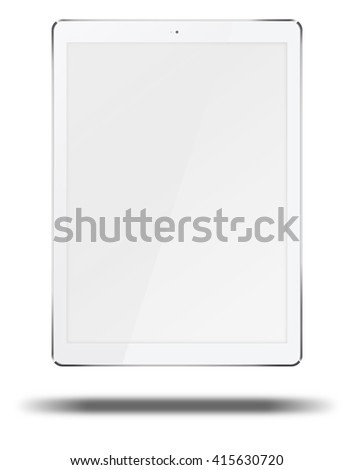Realistic tablet pc computer in ipade style with blank screen and shadows isolated on white background. 3D illustration. - stock photo