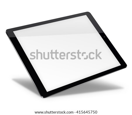 Realistic tablet pc computer in ipade style with blank screen isolated on white background. 3D illustration. - stock photo