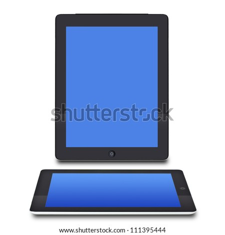 Realistic tablet pc computer with blank screen isolated on white - stock photo