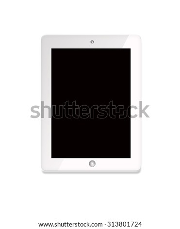Realistic tablet pc computer with blank screen isolated on white background - stock photo