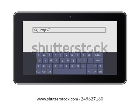 Realistic tablet pc computer  with keyboard isolated on white background.  - stock photo
