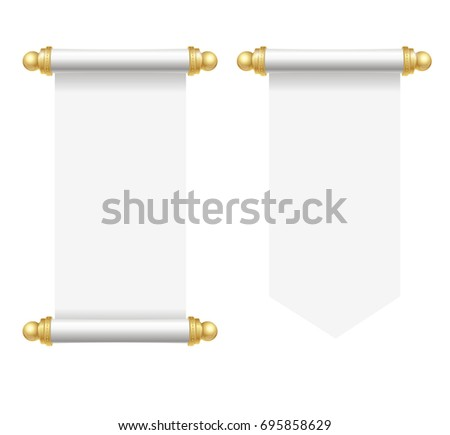 Realistic Template Blank White Paper Scroll Stock Illustration