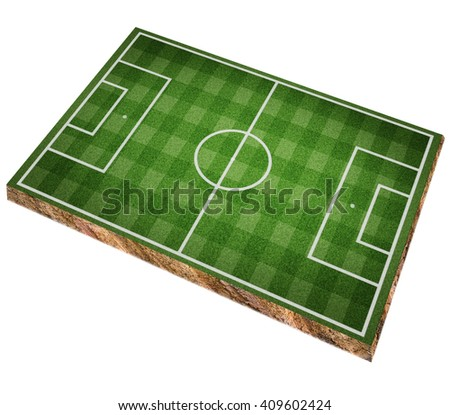 realistic textured grass football, soccer field, perspective view