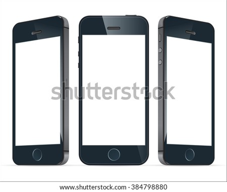Realistic three black mobile phone with blank screen isolated. Modern concept smartphone devices with digital display. Graphic illustration  - stock photo