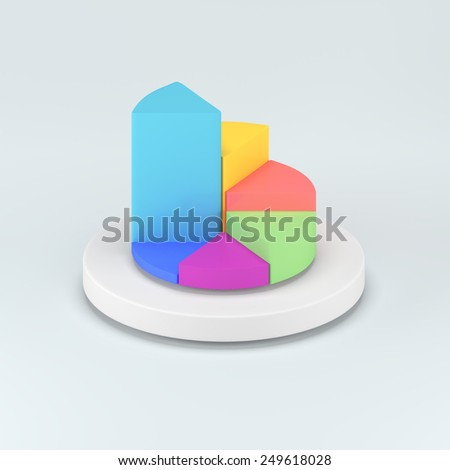 realistic vector abstract 3d pie chart infographic elements. colorful 3D pie chart on white background - stock photo