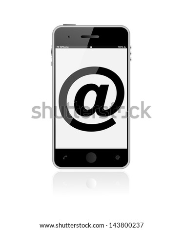 Realistic vertical illustration of a Up Market bestselling Smartphone as email icon