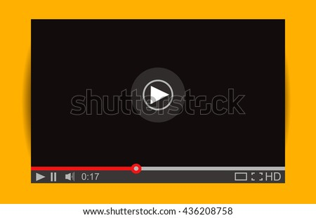 Realistic video player with shadow. Media Player Interface.  Mock Up for Player - stock photo