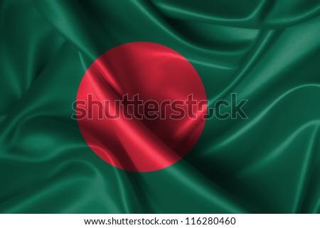 Realistic wavy flag of Bangladesh. - stock photo