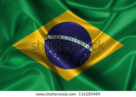 Realistic wavy flag of Brazil. - stock photo