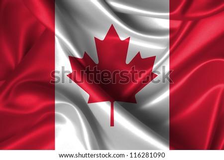 Realistic wavy flag of Canada. - stock photo