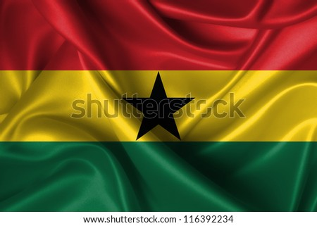 Realistic wavy flag of Ghana. - stock photo