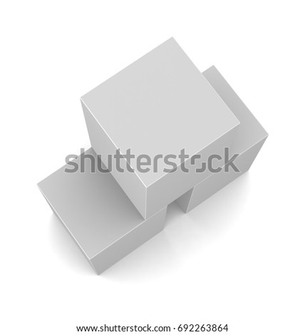 Realistic white blank boxes isolated on white background. 3d illustration
