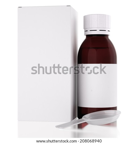 Realistic white blank paper package box with syrup bottle and spoon - stock photo
